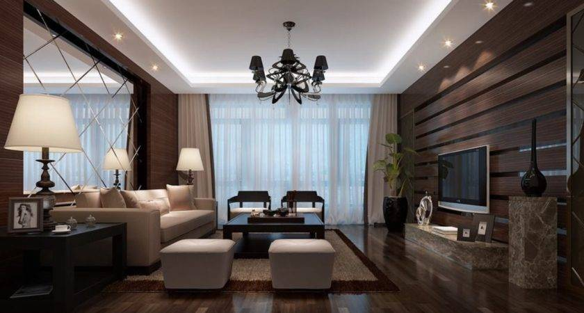Wooden Walls Designed Luxury Living Room House