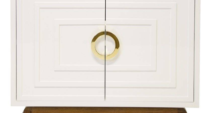Worlds Away Bernard White Lacquer Two Door Cabinet