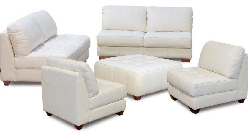 Zen Collection Armless All Leather Tufted Seat Sofa