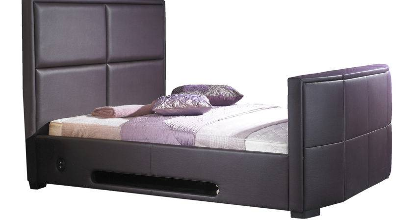Zyna Leather Bed Frame Brown Double Callsoft
